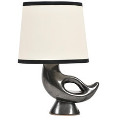 1950s Zoomorphic Black Ceramic Lamp