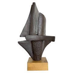 1960s Belgian Ceramic Abstract Sculpture with Bronze Textured Style Finish