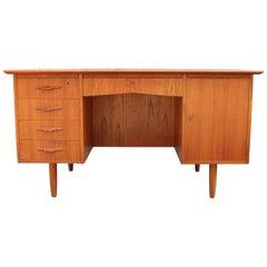 1960s Danish Teak Cross Banded Desk Bookcase Back