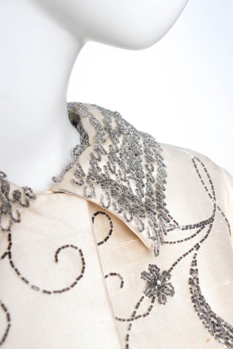 Beige A 1960s Ivory Silk Couture Coat With Beads and Embellishment For Sale