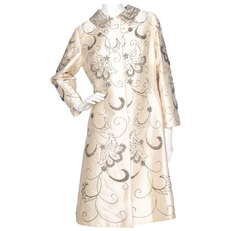 A 1960s Ivory Silk Couture Coat With Beads and Embellishment For Sale