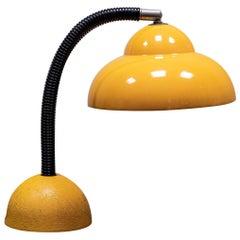 A 1960s Metal Gooseneck Yellow Desk Lamp.
