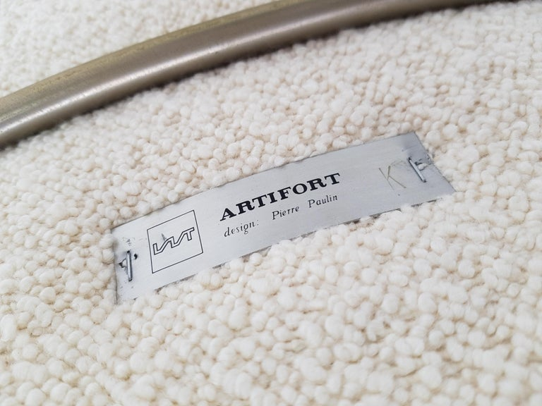 1960s Pierre Paulin Oyster Chair for Artifort in Bouclé Fabric For Sale 11