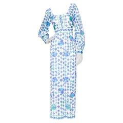 A 1960s Vintage Emilio Pucci White Floral Maxi Dress S