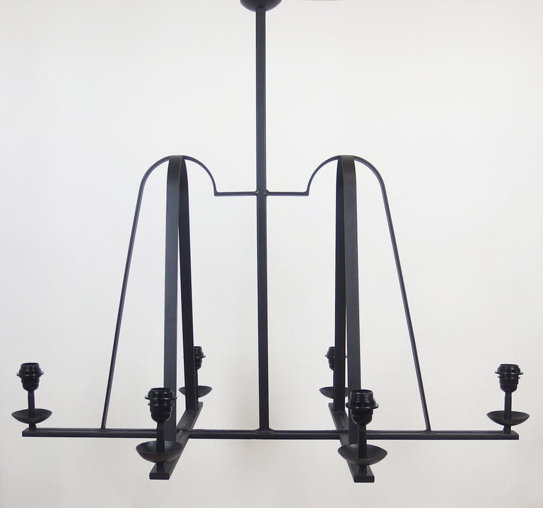 1960s Wrought Iron Chandelier For Sale 6