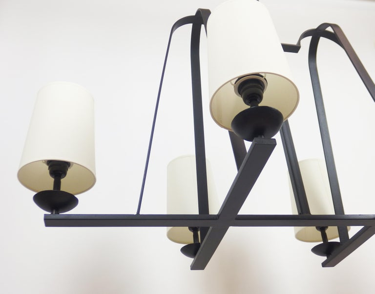 Mid-Century Modern 1960s Wrought Iron Chandelier For Sale