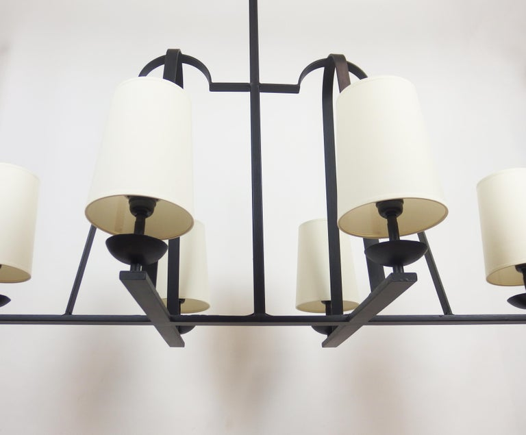 French 1960s Wrought Iron Chandelier For Sale