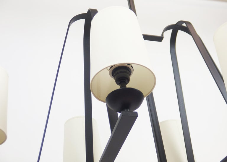 Enameled 1960s Wrought Iron Chandelier For Sale