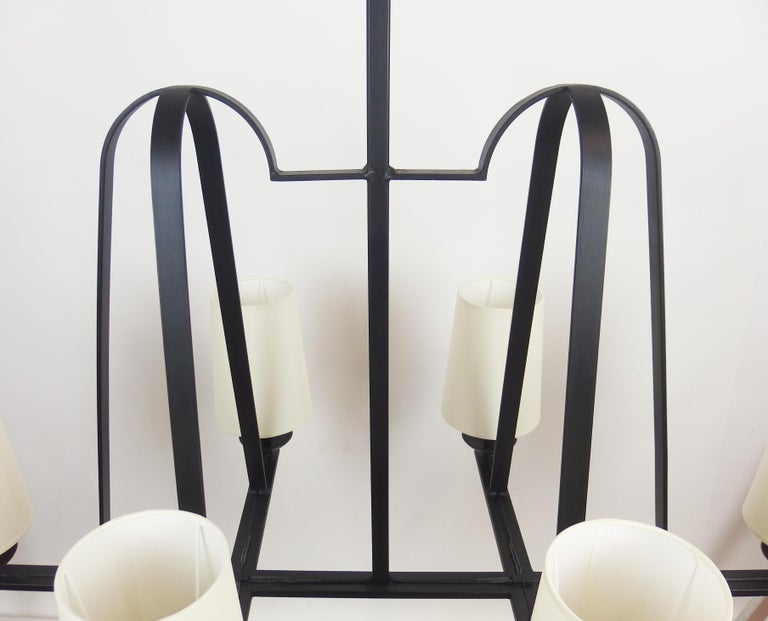 Mid-20th Century 1960s Wrought Iron Chandelier For Sale