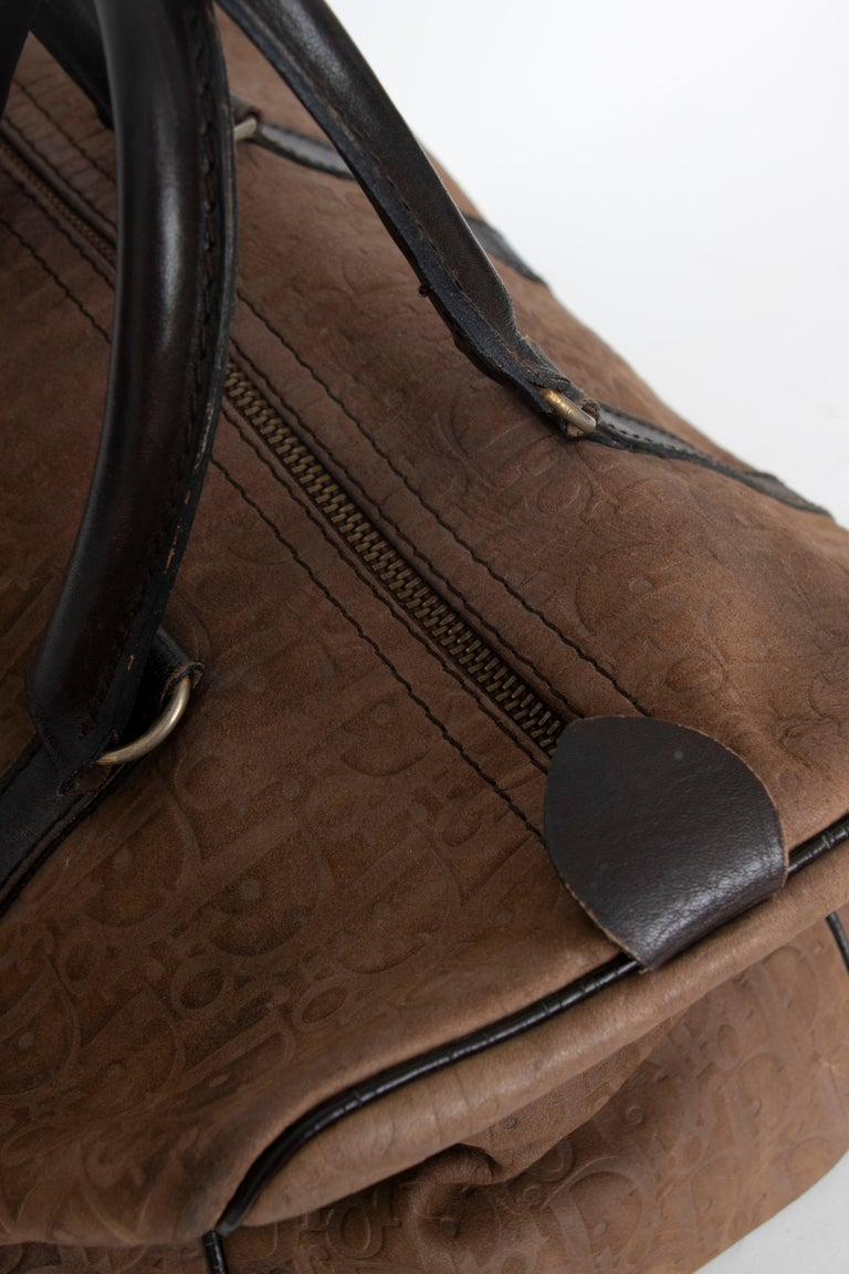 A 1970s Christian Dior Brown Leather Boston Bag  In Fair Condition For Sale In Copenhagen, DK