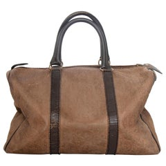 A 1970s Christian Dior Brown Leather Boston Bag