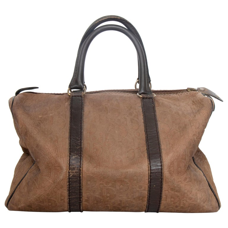 A 1970s Christian Dior Brown Leather Boston Bag  For Sale