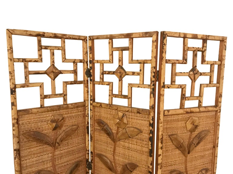 Wondrous 1970S French Riviera Three Panelled Rattan And Bamboo Screen Interior Design Ideas Tzicisoteloinfo