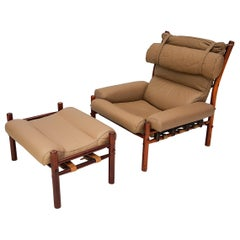 1970s Inca Chair & Footstool by Swedish Designer Arne Norell for Norell Möbler