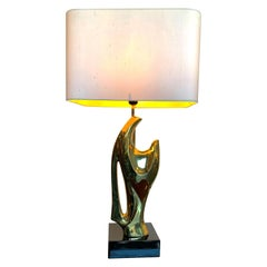 1970s Sculptural Lamp in the Style of Alain Chervet with Black Lacquered Base