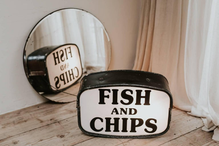 1970s Vintage Double Sided Quot Fish And Chips Quot Shop Sign