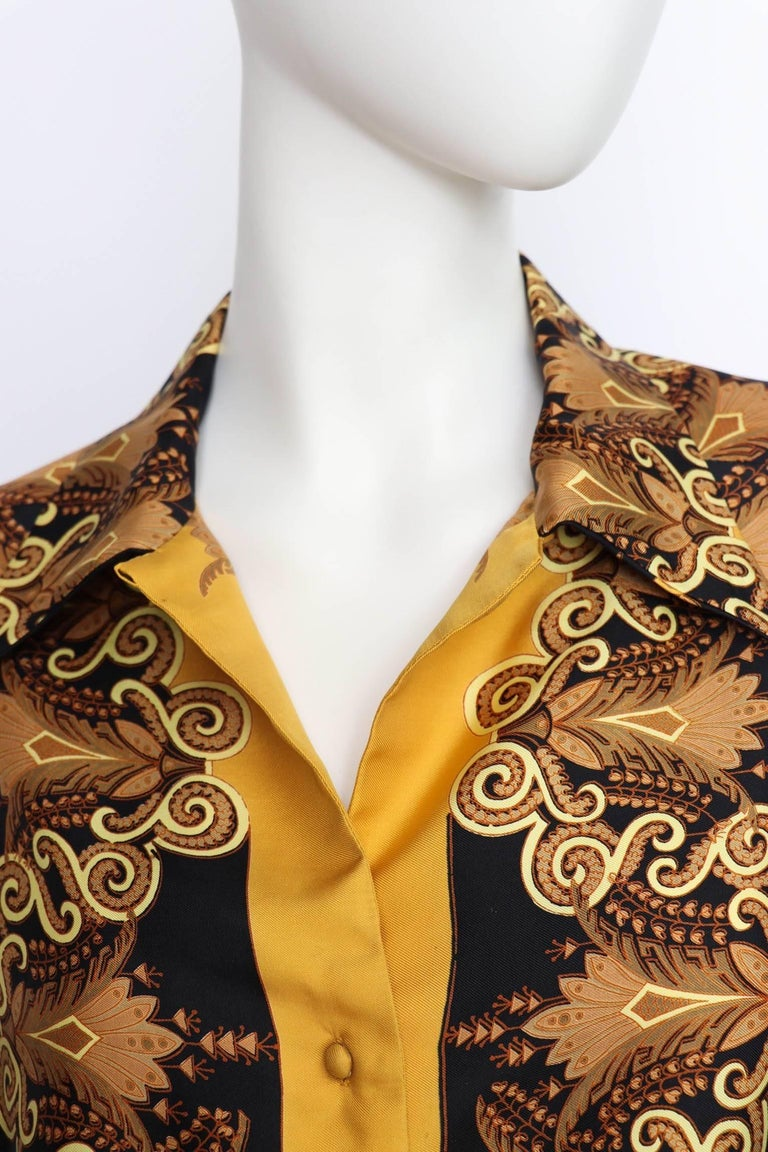 Brown A 1970s Vintage Hermès Printed Pointy Colar Silk Blouse S For Sale