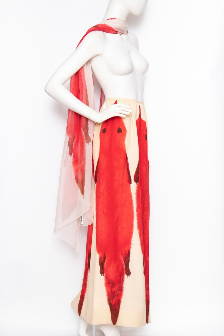 Women's or Men's A 1970s Vintage Lanvin Ivory Skirt and Scarf Ensemble For Sale