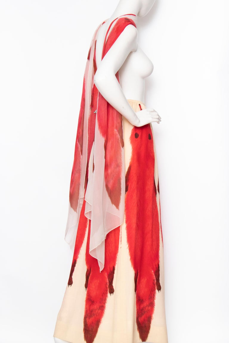 A 1970s Vintage Lanvin Ivory Skirt and Scarf Ensemble For Sale 1