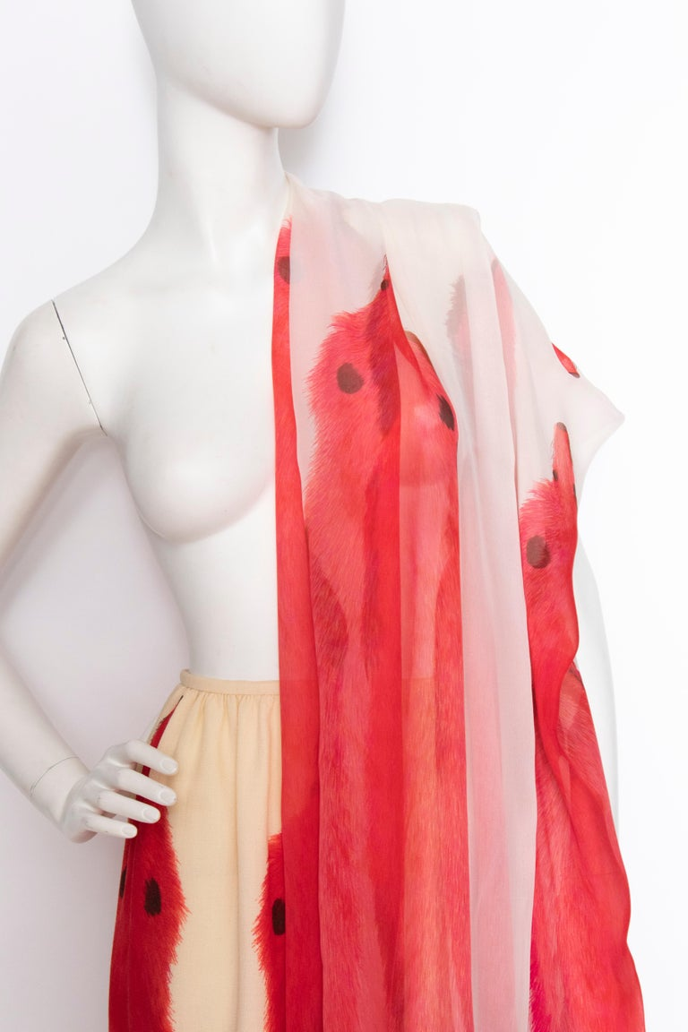 A 1970s Vintage Lanvin Ivory Skirt and Scarf Ensemble For Sale 2