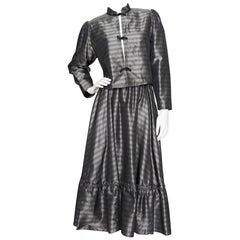A 1970s Vintage Ted Lapidus Taffeta Skirt & Jacket Ensemble S