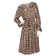A 1970s Vintage Yves Saint Laurent Graphic Silk Day Dress