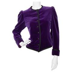 A 1970s Vintage Yves Saint Laurent Rive Gauche Purple Velvet Jacket