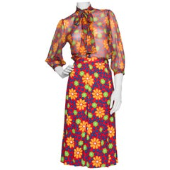 A 1970s Vintage Yves Saint Laurent Rive Gauche Silk Blouse and Skirt Ensemble