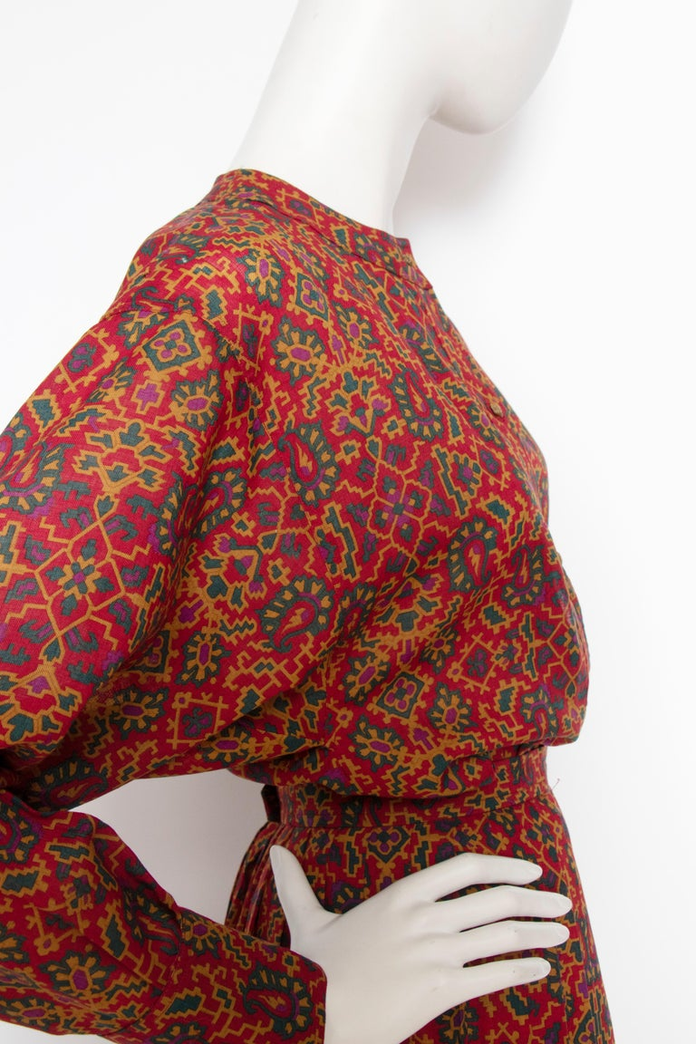 A 1970s Vintage Yves Saint Laurent Rive Gauche Two-Piece Wool Dress  In Good Condition In Copenhagen, DK