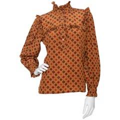 A 1970s Vintage Yves Saint Laurent Rive Gauche Wool Peasant Blouse