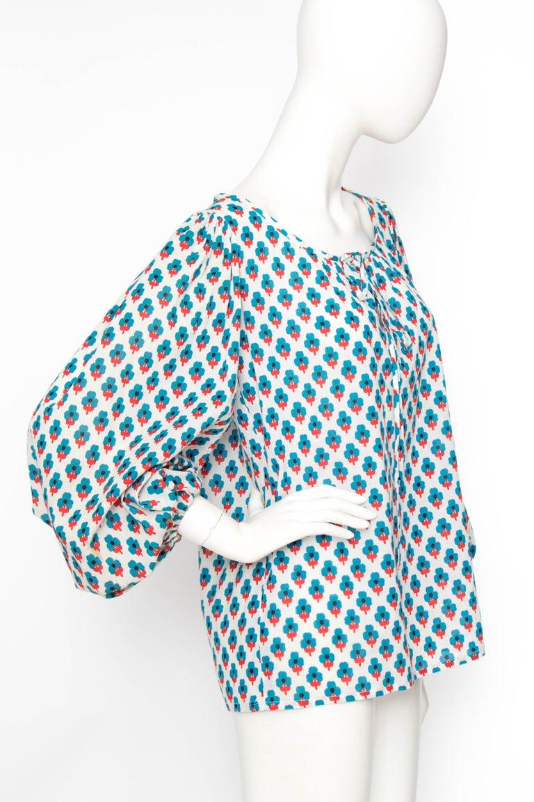 Gray A 1970s Yves Saint Laurent Rive Gauche Sheer Cotton Peasant Blouse
