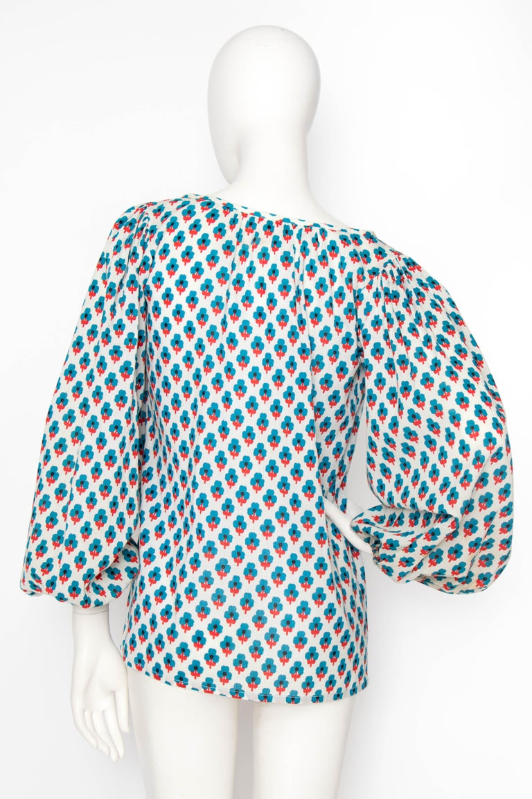 A 1970s Yves Saint Laurent Rive Gauche Sheer Cotton Peasant Blouse In Good Condition In Copenhagen, DK