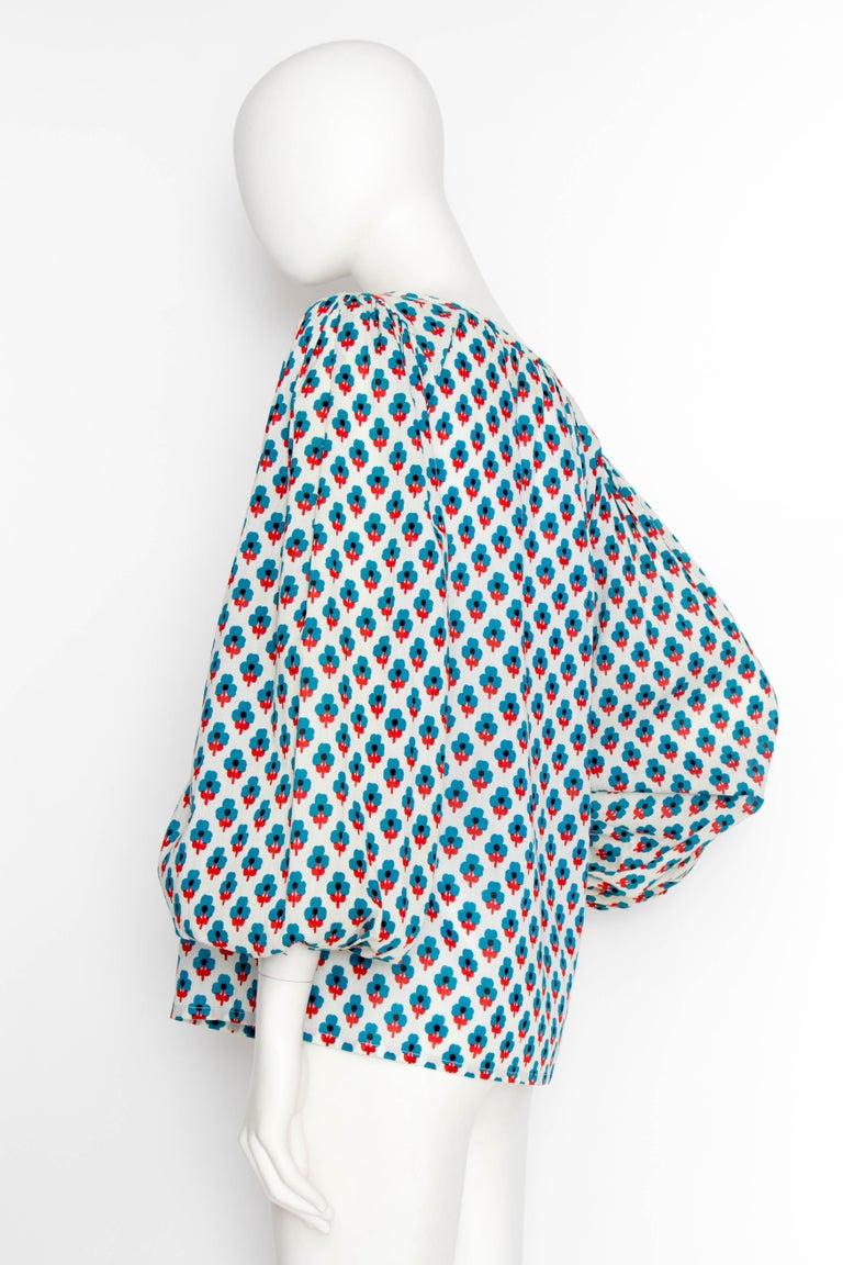 Women's or Men's A 1970s Yves Saint Laurent Rive Gauche Sheer Cotton Peasant Blouse