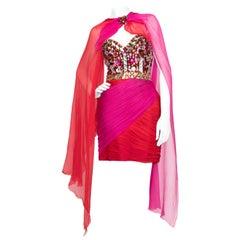 A 1980s Loris Azzaro Pink Silk Chiffon Embellished Cocktail Dress