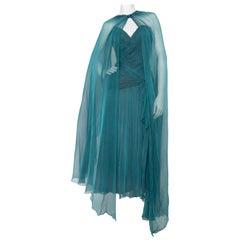 A 1980s Vintage Azzaro Blue Silk Chiffon Evening Dress