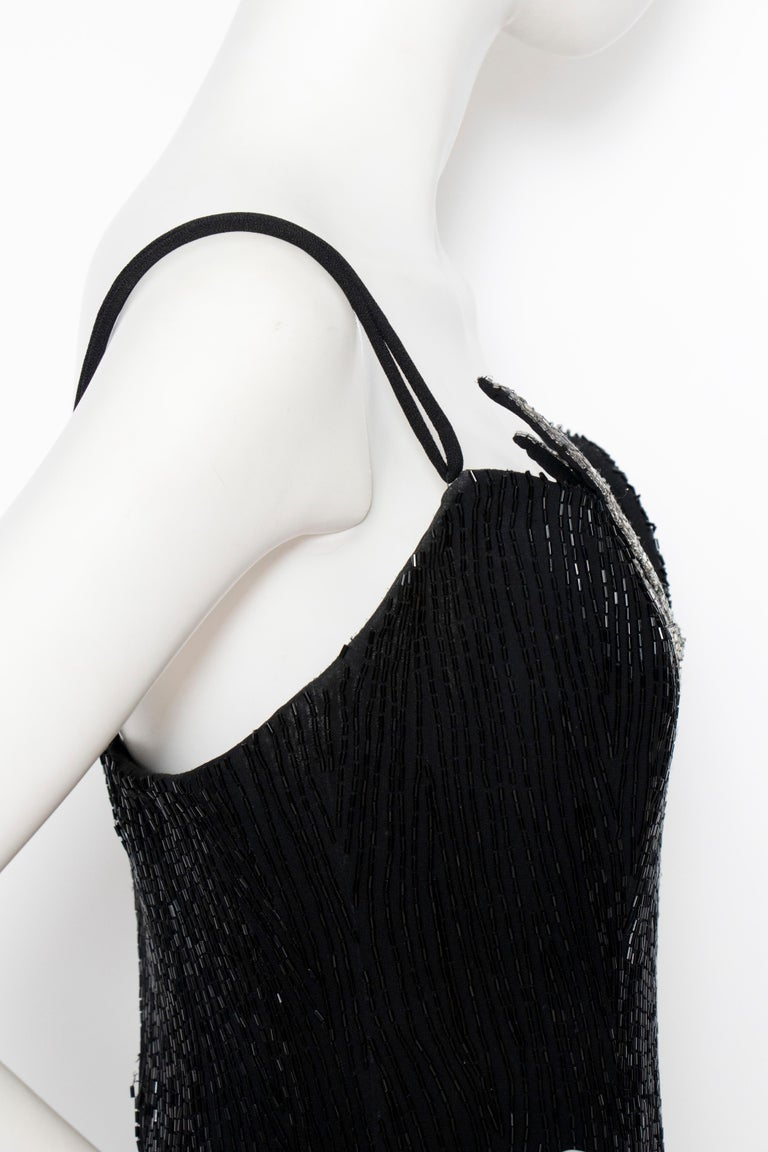 A 1980s Vintage Bob Mackie Black Beaded Evening Gown  For Sale 1