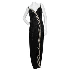 A 1980s Vintage Bob Mackie Black Beaded Evening Gown
