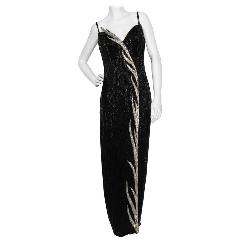 A 1980s Vintage Bob Mackie Black Beaded Evening Gown  For Sale