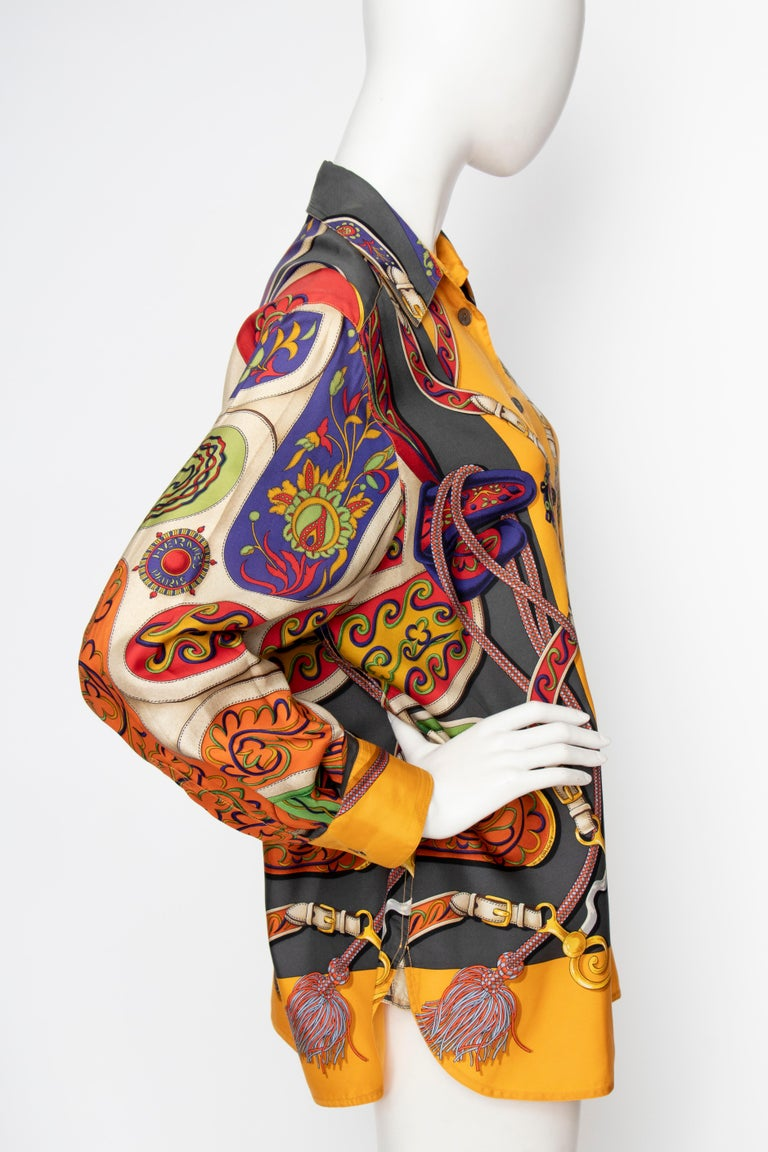 Orange A 1980s Vintage Hermès Henri d'Origny Silk Twill Blouse  For Sale