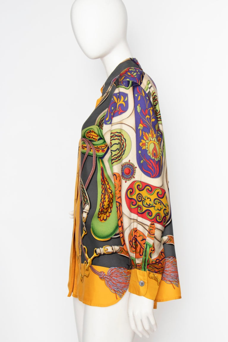 A 1980s Vintage Hermès Henri d'Origny Silk Twill Blouse  In Good Condition For Sale In Copenhagen, DK