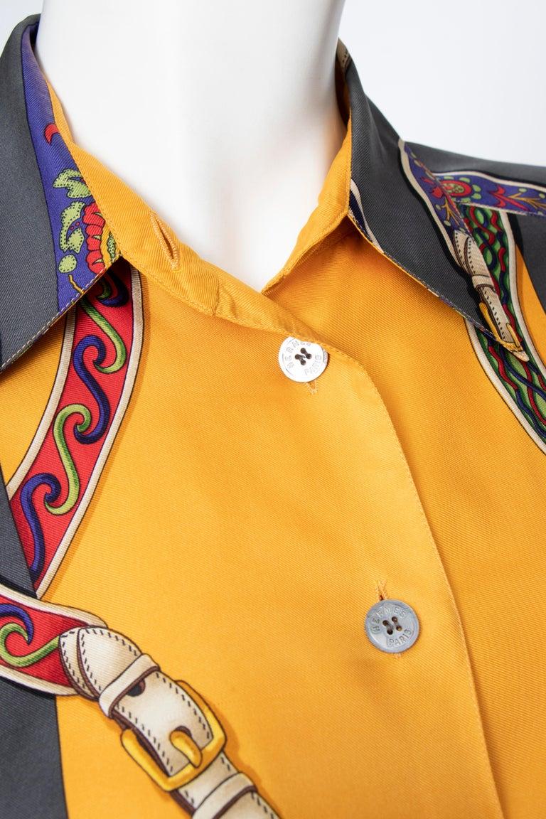 Women's or Men's A 1980s Vintage Hermès Henri d'Origny Silk Twill Blouse  For Sale