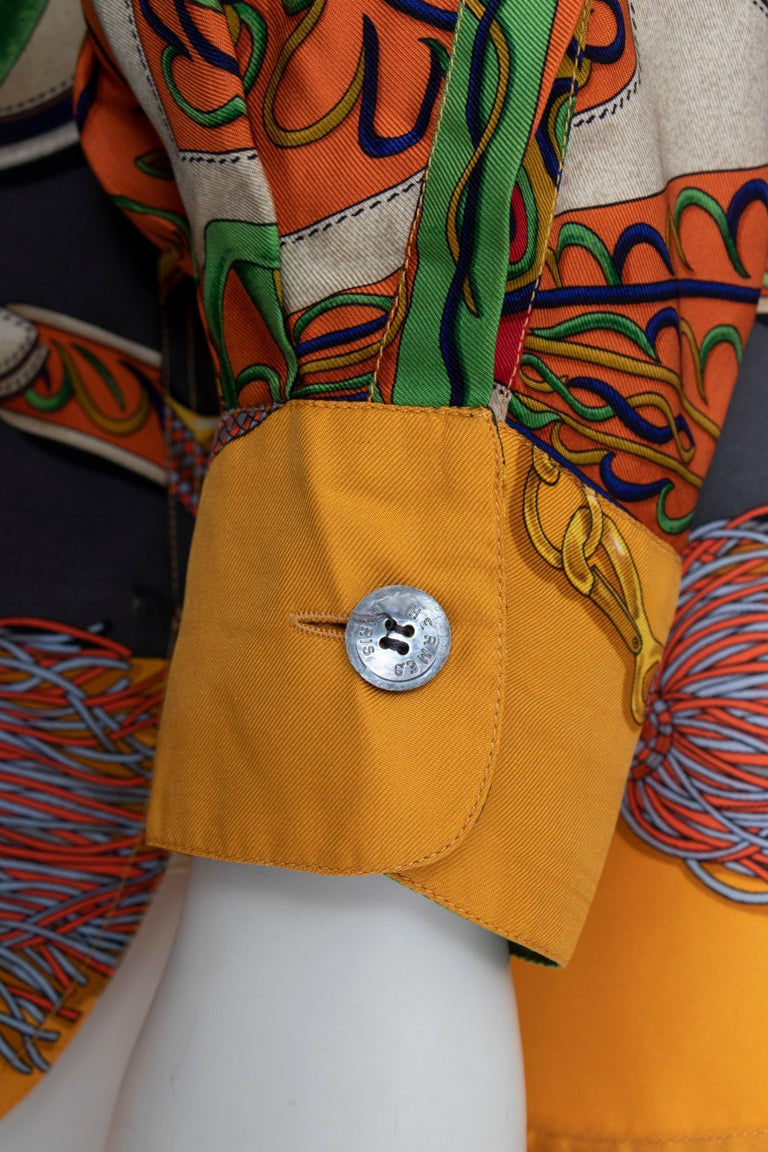 A 1980s Vintage Hermès Henri d'Origny Silk Twill Blouse  For Sale 1