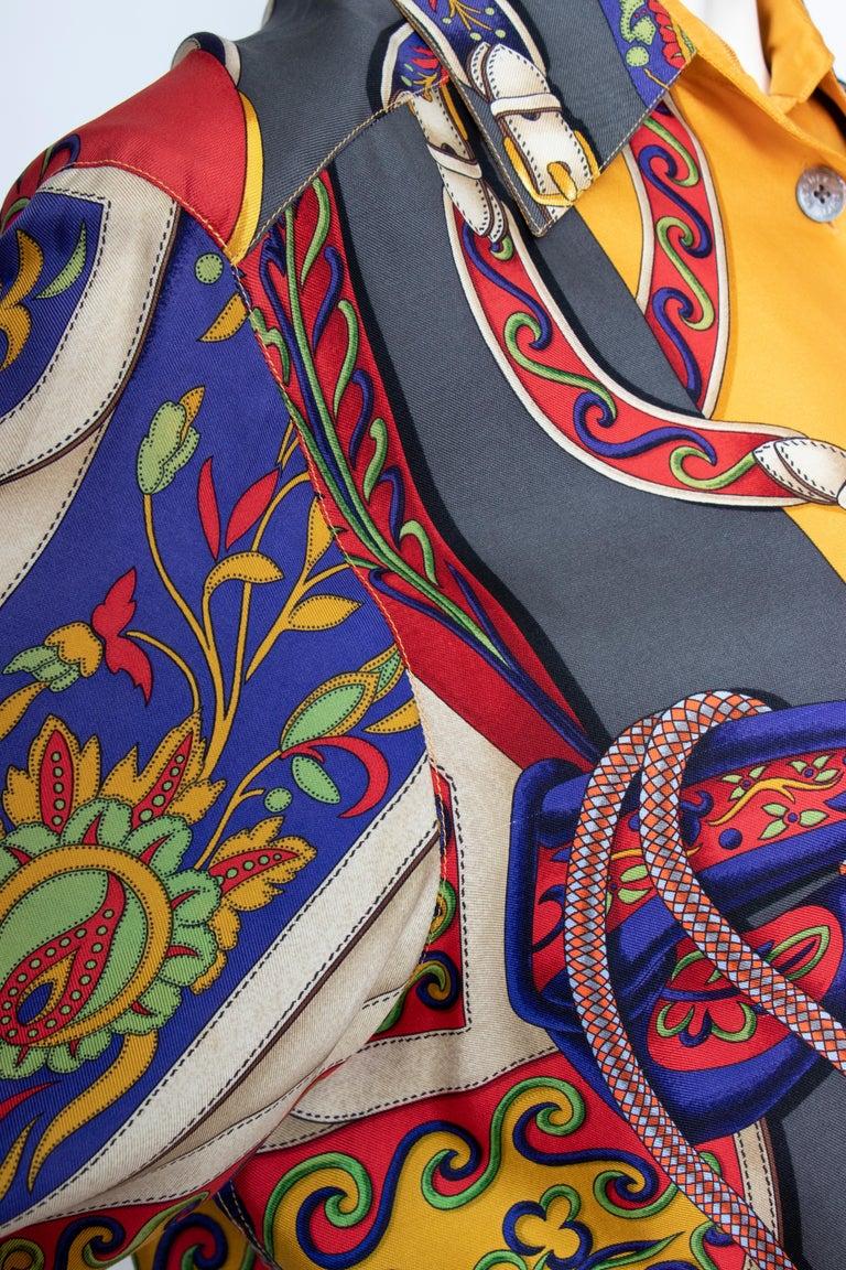 A 1980s Vintage Hermès Henri d'Origny Silk Twill Blouse  For Sale 4