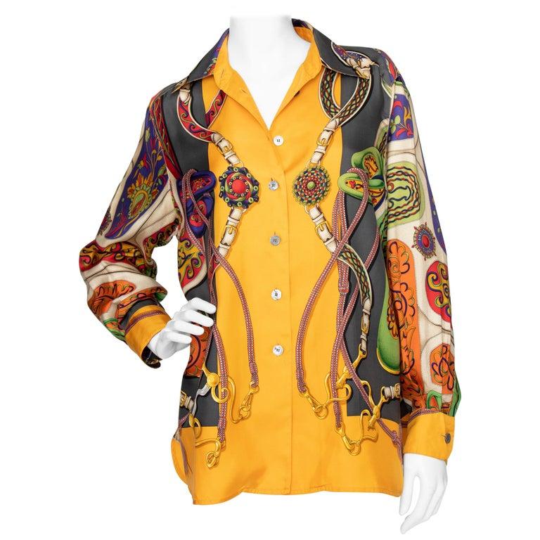 A 1980s Vintage Hermès Henri d'Origny Silk Twill Blouse  For Sale