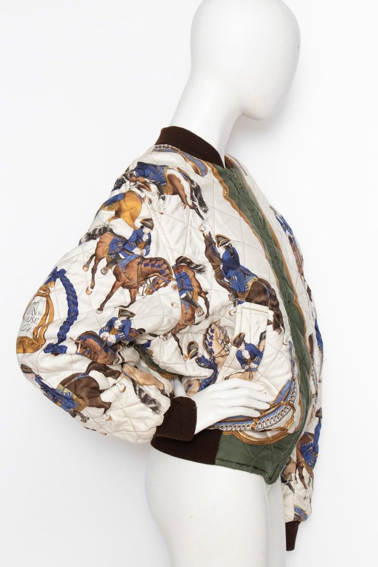 A 1980s Vintage Hermès Reversible Silk 'Reprise' Bomber Jacket  In Fair Condition For Sale In Copenhagen, DK