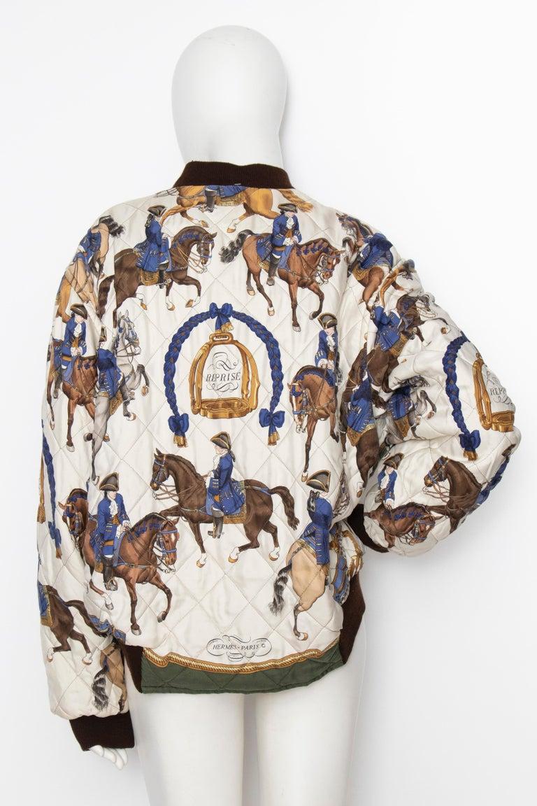 Women's or Men's A 1980s Vintage Hermès Reversible Silk 'Reprise' Bomber Jacket  For Sale