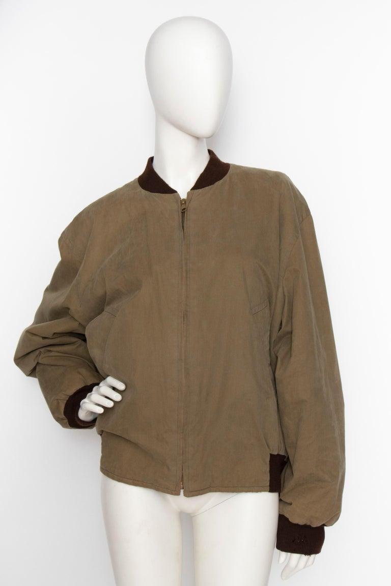 A 1980s Vintage Hermès Reversible Silk 'Reprise' Bomber Jacket  For Sale 1