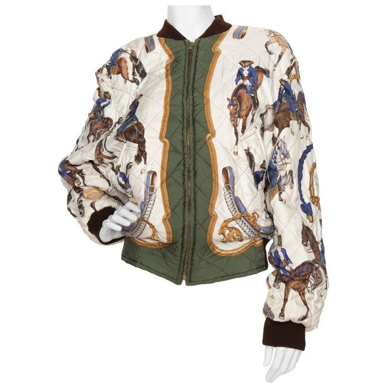 A 1980s Vintage Hermès Reversible Silk 'Reprise' Bomber Jacket  For Sale
