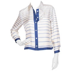 A 1980s Vintage Hermès Silk Twill Blouse