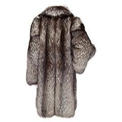 A 1980s Vintage Long Grey Saga  Fox Fur Coat